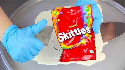 ASMR FRUTS SKITTLES CANDY ICE CREAM ROLLS Oddly Satisfying Fried Ice Cream Food Asmr